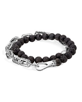 JOHN HARDY - Sterling Silver Classic Chain Wrap Bracelet with Volcanic Rock
