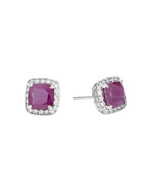 John Hardy Sterling Silver Classic Chain Magic Cut Indian Ruby Stud Earrings with Diamonds