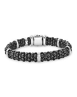 LAGOS - Black Caviar Ceramic and Sterling Silver Station Bracelet