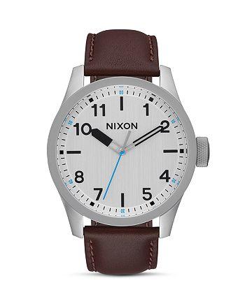 Nixon - Safari Leather Strap Watch, 46mm