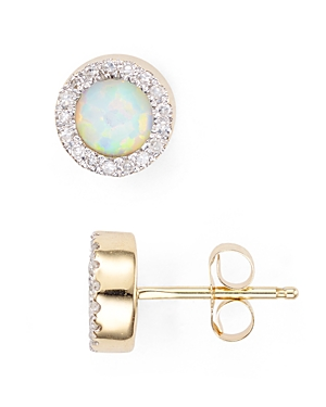 Adina Reyter Opal & Diamond Disc Stud Earrings