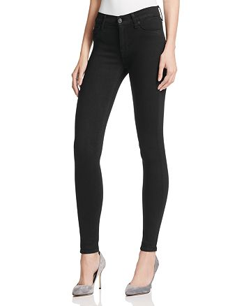 Hudson - Mid Rise Super Skinny Jeans in Black