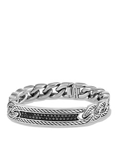 David Yurman - Maritime Curb Link ID Bracelet with Black Diamonds