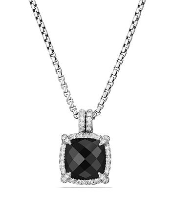 David Yurman - Châtelaine Pavé Bezel Pendant Necklace with Black Onyx and Diamonds