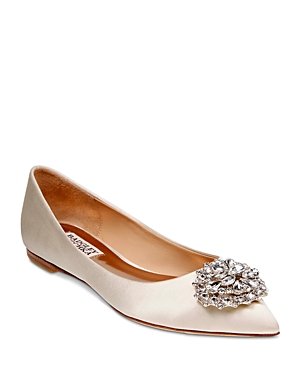 Badgley Mischka Davis Embellished Satin Pointed Toe Flats