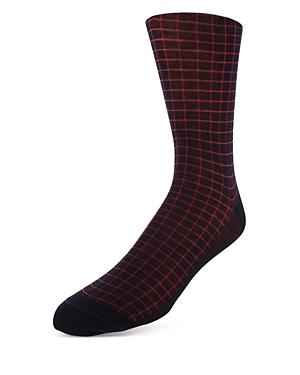Bruno Magli Windowpane Check Dress Socks