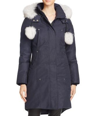 Stirling Fox Fur Down Parka, Navy