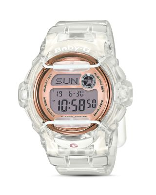 G-SHOCK WOMEN'S DIGITAL CLEAR RESIN STRAP WATCH 45X42MM BG169G-7B