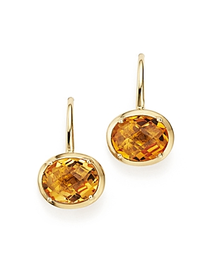 Citrine Oval Drop Earrings in 14K Yellow Gold - 100% Exclusive