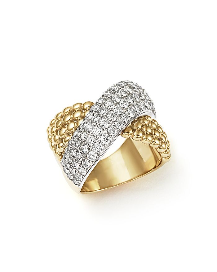 Bloomingdale's - Diamond Crossover Ring in 14K Yellow and White Gold, 2.15 ct. t.w.- 100% Exclusive
