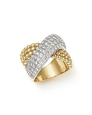 Diamond Crossover Ring in 14K Yellow and White Gold, 2.15 ct. t.w. - 100% Exclusive