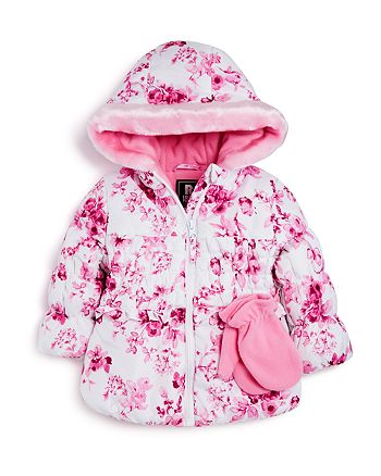 dfdcba0cac53 Rothschild Infant Girls  Rose Print Puffer Jacket with Mittens ...