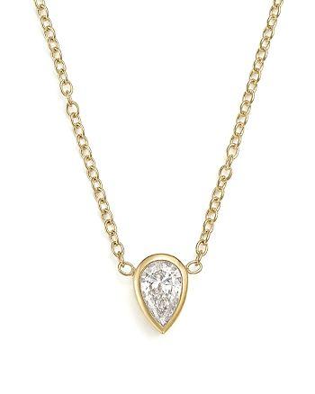 "Zoë Chicco - 14K Yellow Gold Pendant Necklace with Teardrop Diamond, 14"""