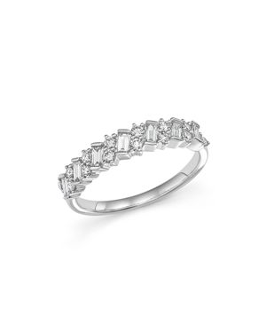 Round and Baguette Diamond Band in 14K White Gold, .50 ct. t.w.