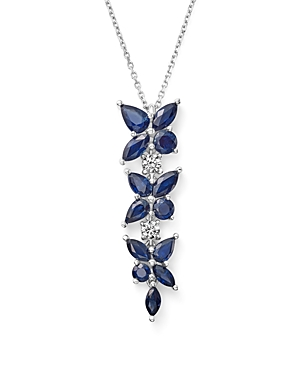 Sapphire and Diamond Flower Drop Pendant Necklace in 14K White Gold, 18 - 100% Exclusive