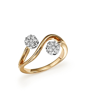Diamond Double Flower Ring in 14K White and Yellow Gold, .30 ct. t.w. - 100% Exclusive