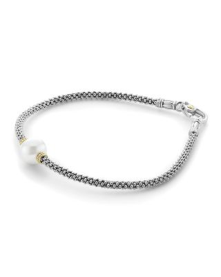 18K Gold And Sterling Silver Luna Rope Bracelet With Cultured Freshwater Pearl in Dnu Silver/ Pearl