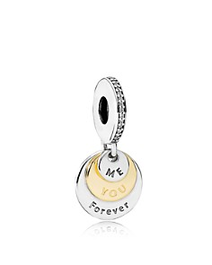 PANDORA -  Dangle Charm - 14K Gold, Sterling Silver & Cubic Zirconia You Me Forever, Moments Collection
