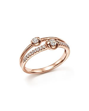 Diamond Two Stone Ring in 14K Rose Gold, .30 ct. t.w. - 100% Exclusive