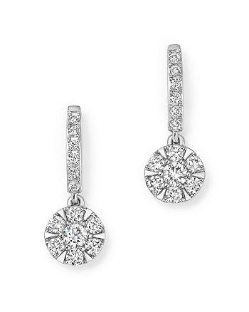 Bloomingdale's - Diamond Cluster Drop Earrings in 14K White Gold, .55 ct. t.w.- 100% Exclusive