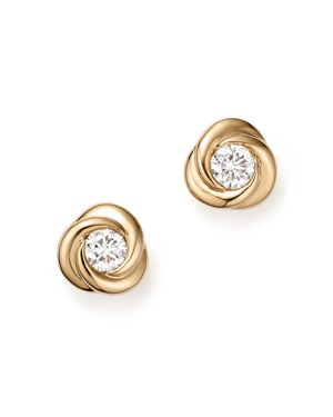 Diamond Love Knot Stud Earrings in 14K Yellow Gold, .39 ct. t.w.