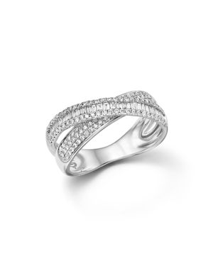 Diamond Round and Baguette Crossover Ring in 14K White Gold, .65 ct. t.w. - 100% Exclusive