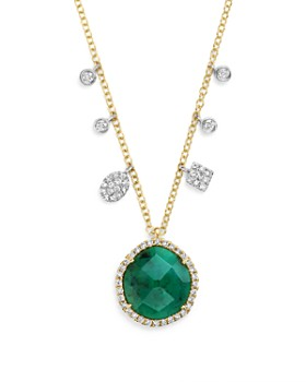 """Meira T - 14K Yellow Gold Emerald Pendant Necklace with Diamonds, 16"""""""