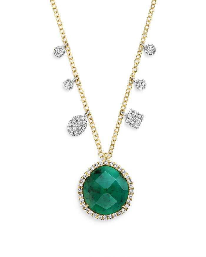 Meira T - 14K Yellow Gold Emerald Pendant Necklace with Diamonds, 16""