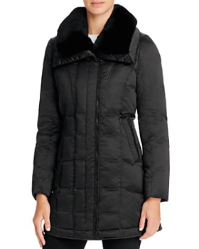Trina Turk - Adrianna Rabbit Fur Trim Down Coat