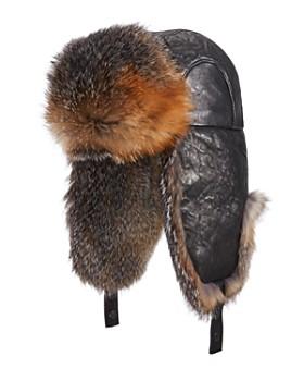 Crown Cap - Leather Fox Fur Aviator