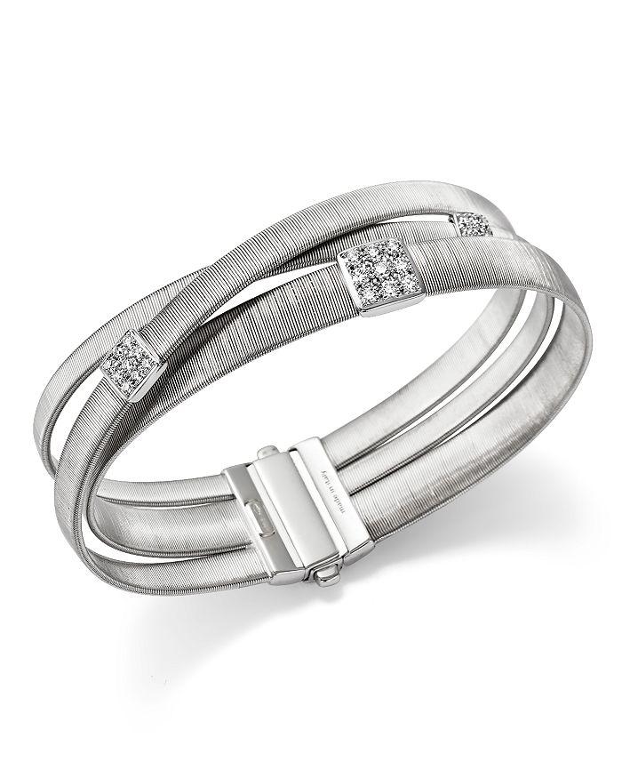 Marco Bicego - 18K White Gold Masai Three Strand Crossover Diamond Bracelet