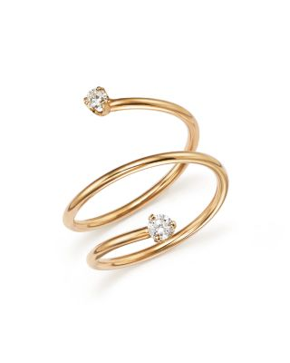 ZOË CHICCO 14K Yellow Gold Wrap Ring With Diamonds in White/Gold