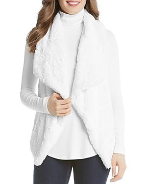 Karen Kane Drape Lapel Faux Fur Vest