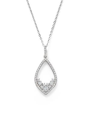 Diamond Teardrop Pendant Necklace in 14K White Gold, 1.50 ct. t.w. - 100% Exclusive