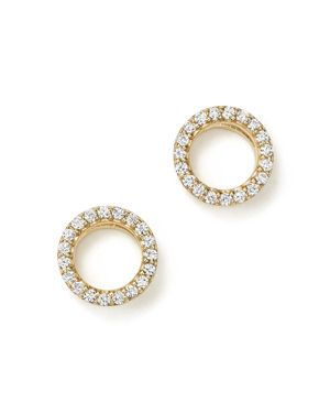 Diamond Circle Stud Earrings in 14K Yellow Gold, .20 ct. t.w. - 100% Exclusive