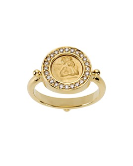 Temple St. Clair - 18K Yellow Gold Angel Ring with Pavé Diamonds