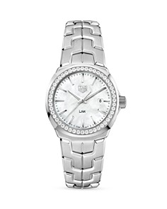TAG Heuer Link Mother-Of-Pearl and Diamond Bezel Watch, 32mm - Bloomingdale's_0