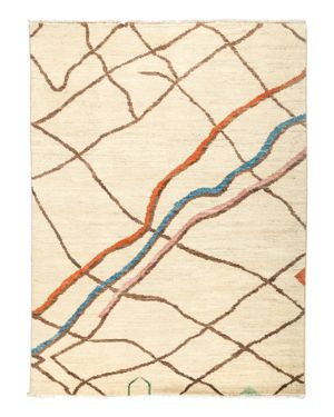Solo Rugs Moroccan Area Rug - Beige Multi Lines, 5'1 x 6'10