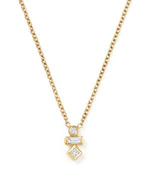 Zoe Chicco 14K Yellow Gold Princess, Baguette and Round Diamond Necklace, 16