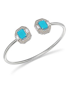 Judith Ripka - Sterling Silver Avery Doublet Baguette Cuff with Rock Crystal