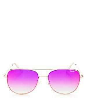 Quay Running Riot Mirrored Aviator Sunglasses, 57mm