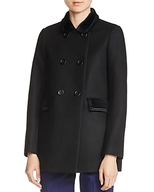 Maje Galakie Double-Breasted Short Coat plus size,  plus size fashion plus size appare