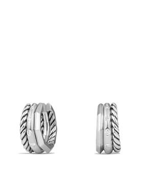 David Yurman - Stax Huggie Hoop Earrings with Diamonds
