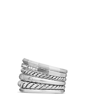 David Yurman - Stax Wide Ring with Diamonds
