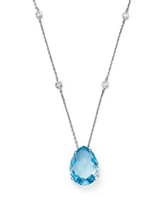 """Bloomingdale's - Blue Topaz and Diamond Pendant Necklace in 14K White Gold, 16""""- 100% Exclusive"""