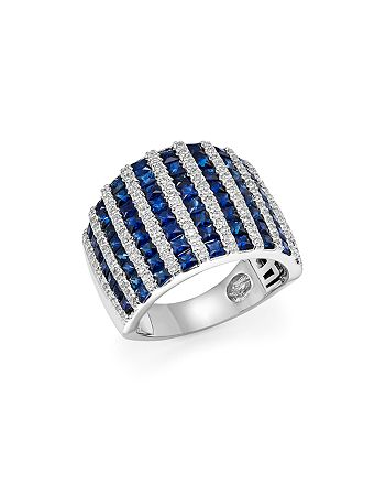 Bloomingdale's - Diamond and Blue Sapphire Wide Band in 14K White Gold- 100% Exclusive