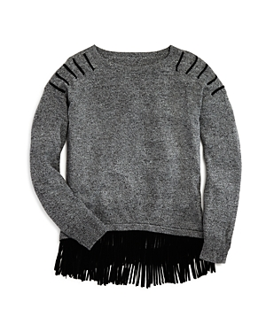 Aqua Girls' Fringed Hem Heather Sweater, Sizes S-xl - 100% Exclusive