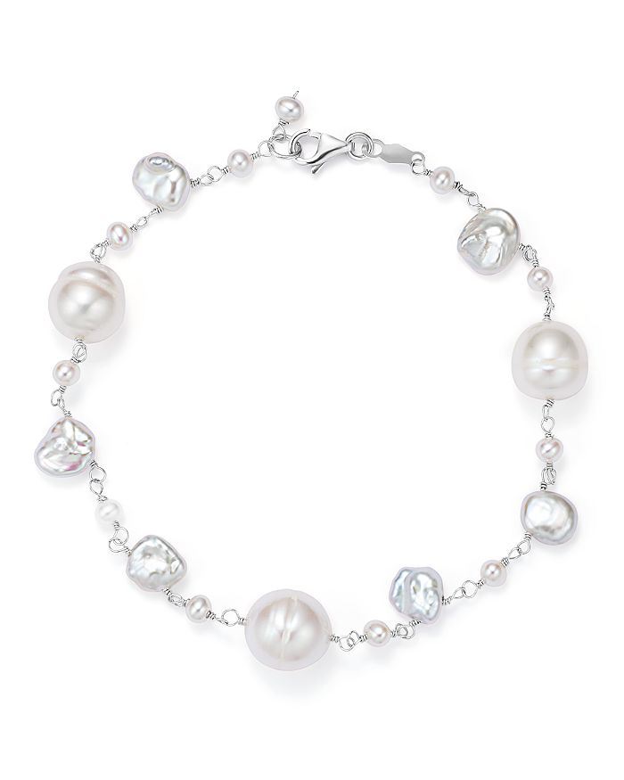 Bloomingdale's - 14K White Gold Cultured Freshwater Pearl and Keshi Pearl Bracelet - 100% Exclusive