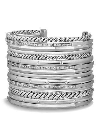 David Yurman - Stax Wide Cuff Bracelet with Diamonds