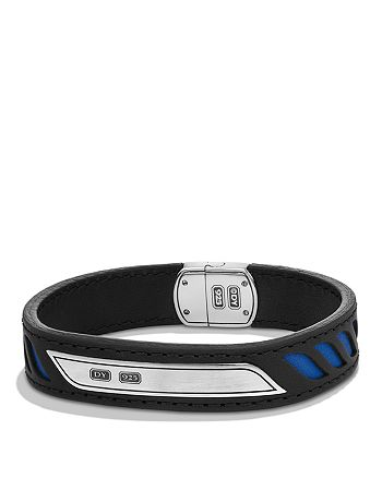 David Yurman - Graphic Cable Leather ID Bracelet in in Black with Blue Accents